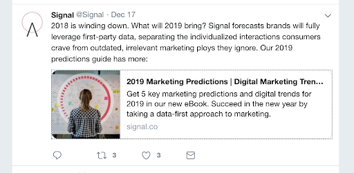 signal shows their value to marketers simply by promoting their ebook