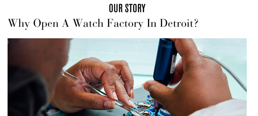 Shinola's site stresses the storytelling behind their brand