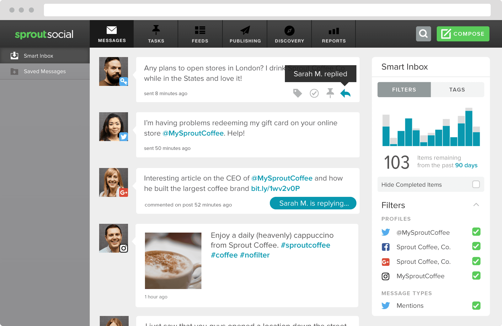 Sprout offers a real-time engagement feed so you in no way miss your most important interactions