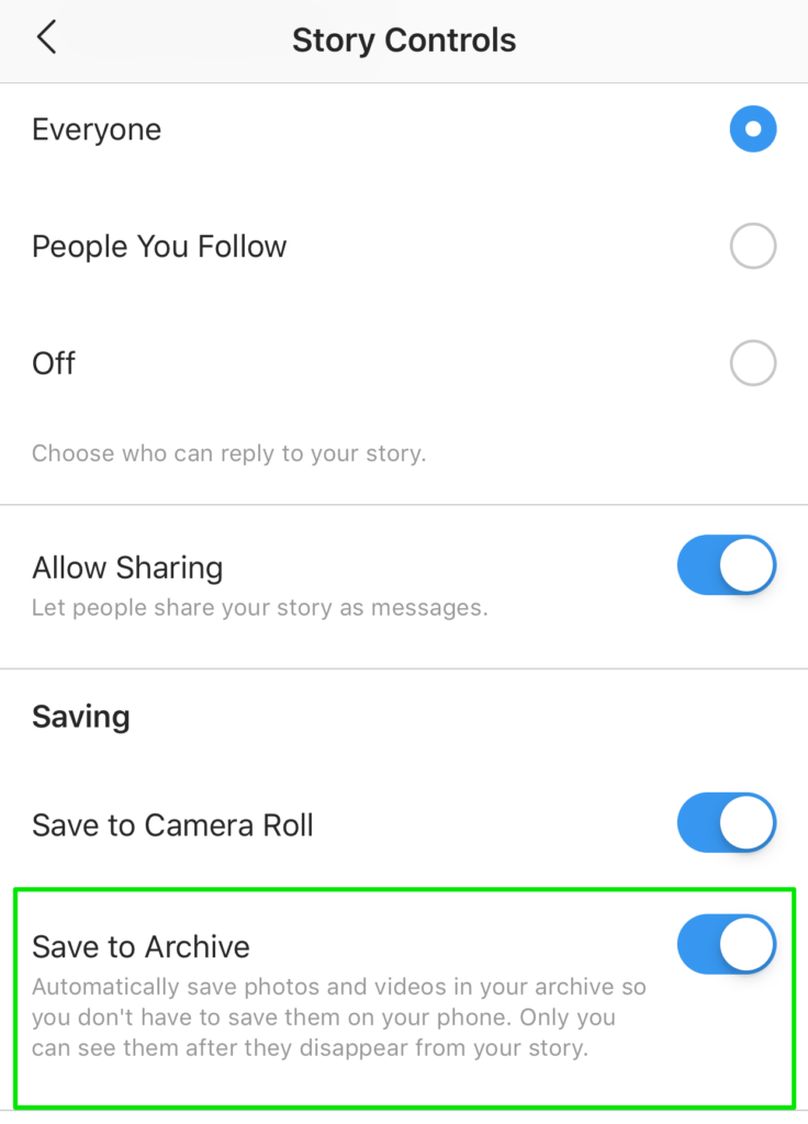 story choices allow you to save an archive associated with stories on instagram
