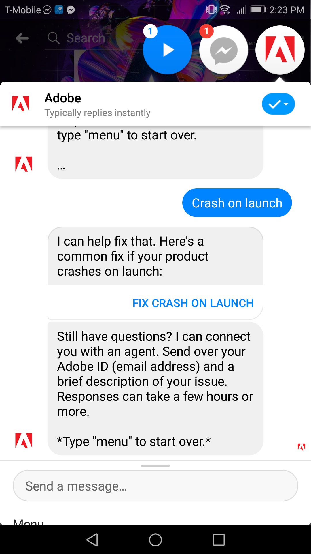 Adobe's bot is helpful designed for troubleshooting