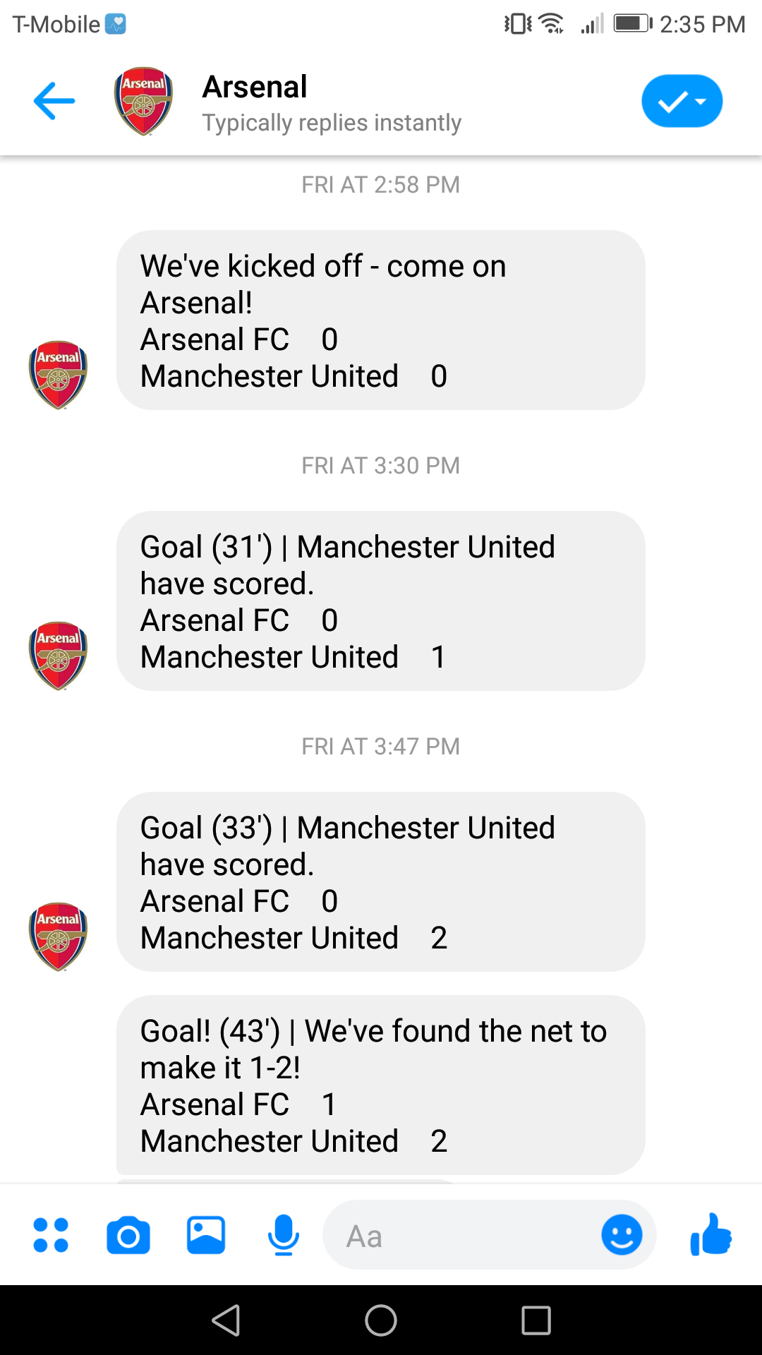 Arsenal's robot provides live updates