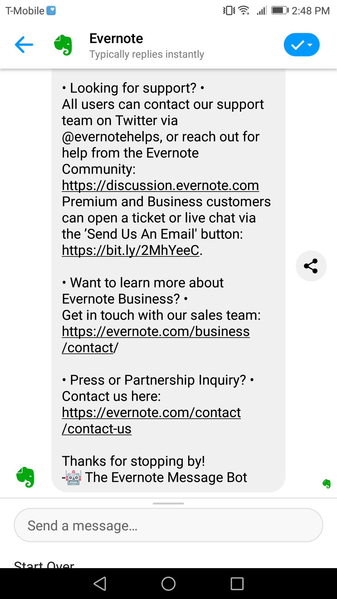 Evernote is different from your other chatbot marketing examples because it's a single-message bot that promotes users to go off-site