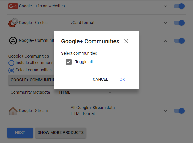 options in order to save Google Plus Communities data