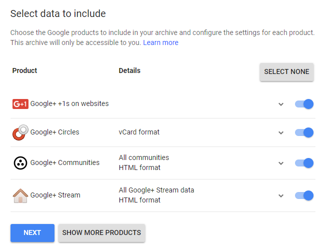 data conserving options for Google Plus