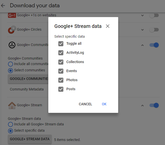options for conserving Google Plus Stream data