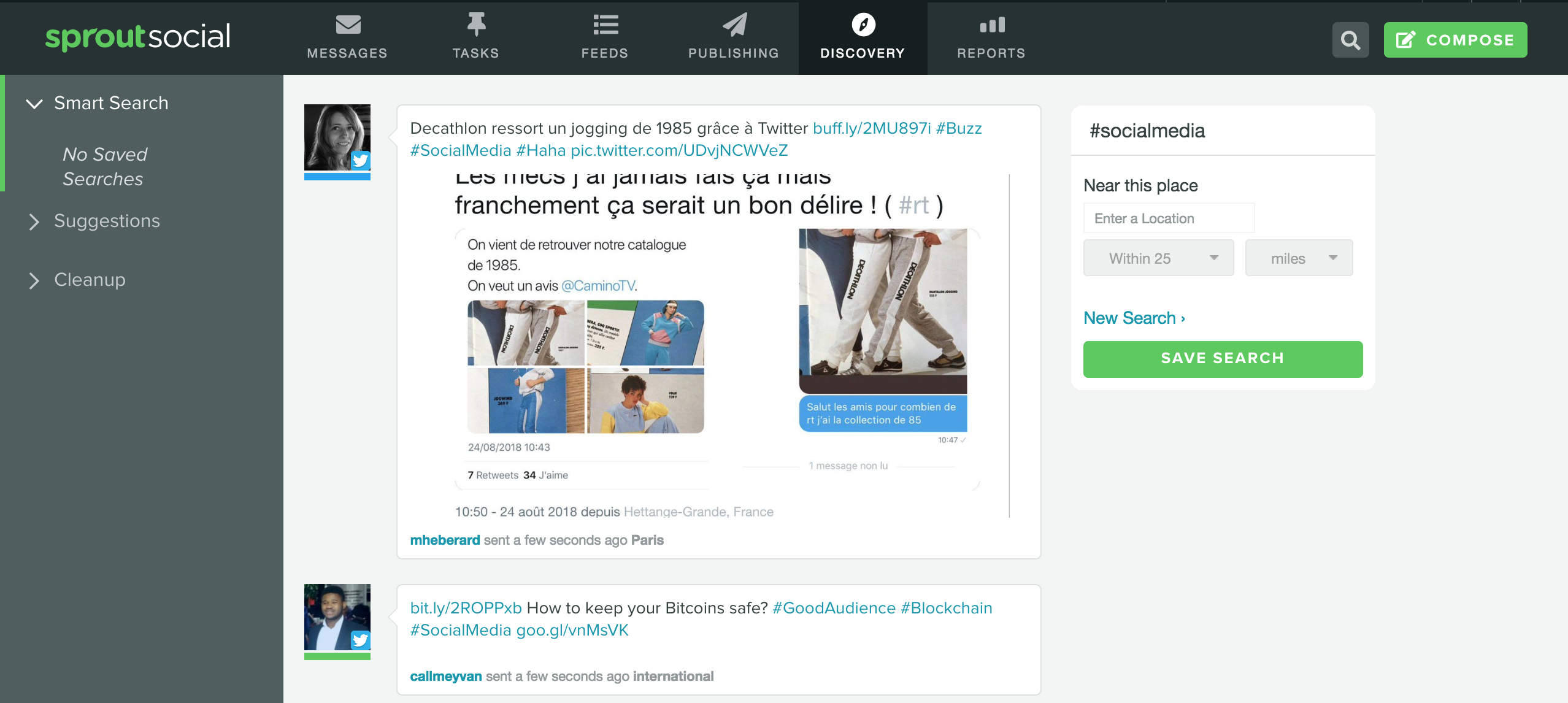 Screenshot of Sprout Social's finding tab for hashtag search