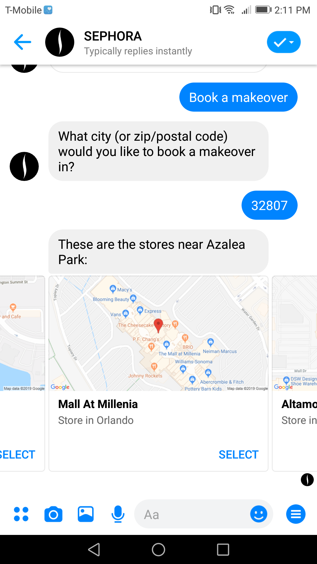Sephora's bot allows users to guide appointments directly from Facebook