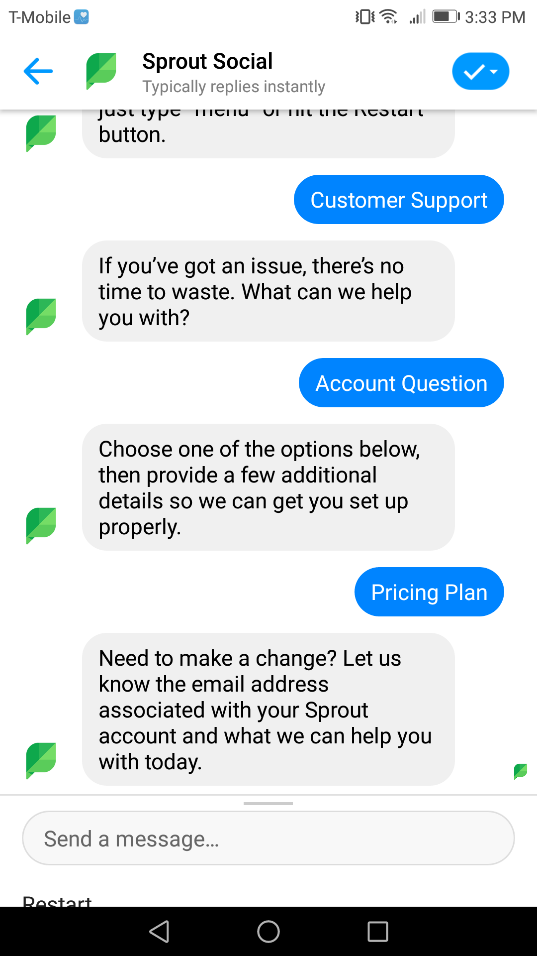 Sprout offers a variety of service options