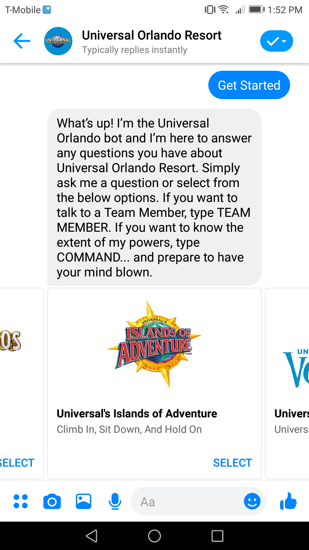Universal Orlando's bot has some personality