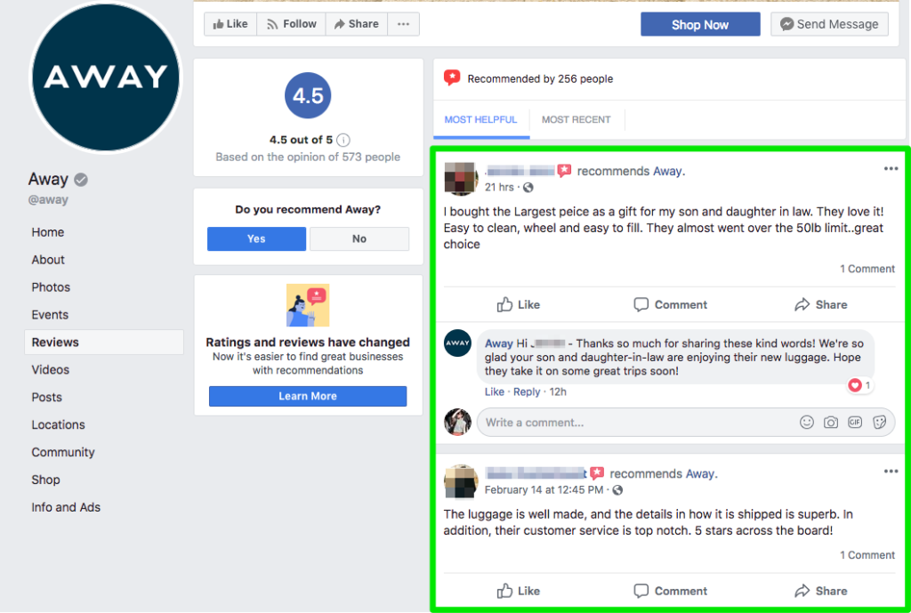 example of listening for recurring key phrases in FB messages
