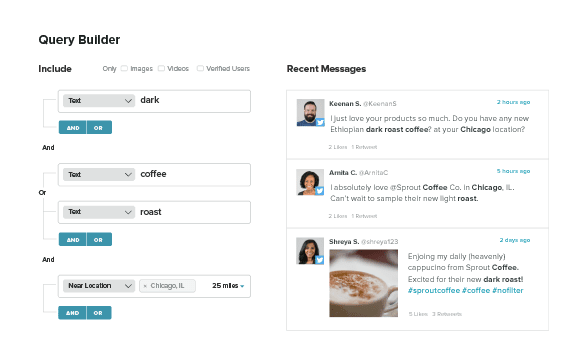 Sprout's query builder permits better brand searches beyond the native Instagram query
