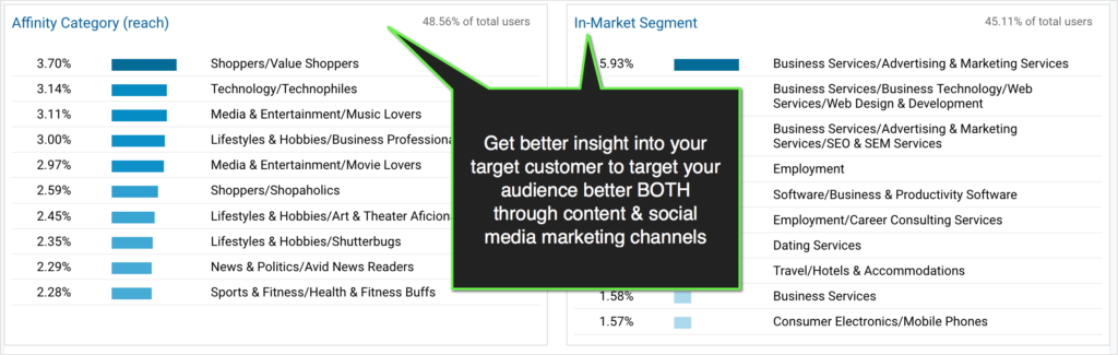 google analytics report on viewers interests