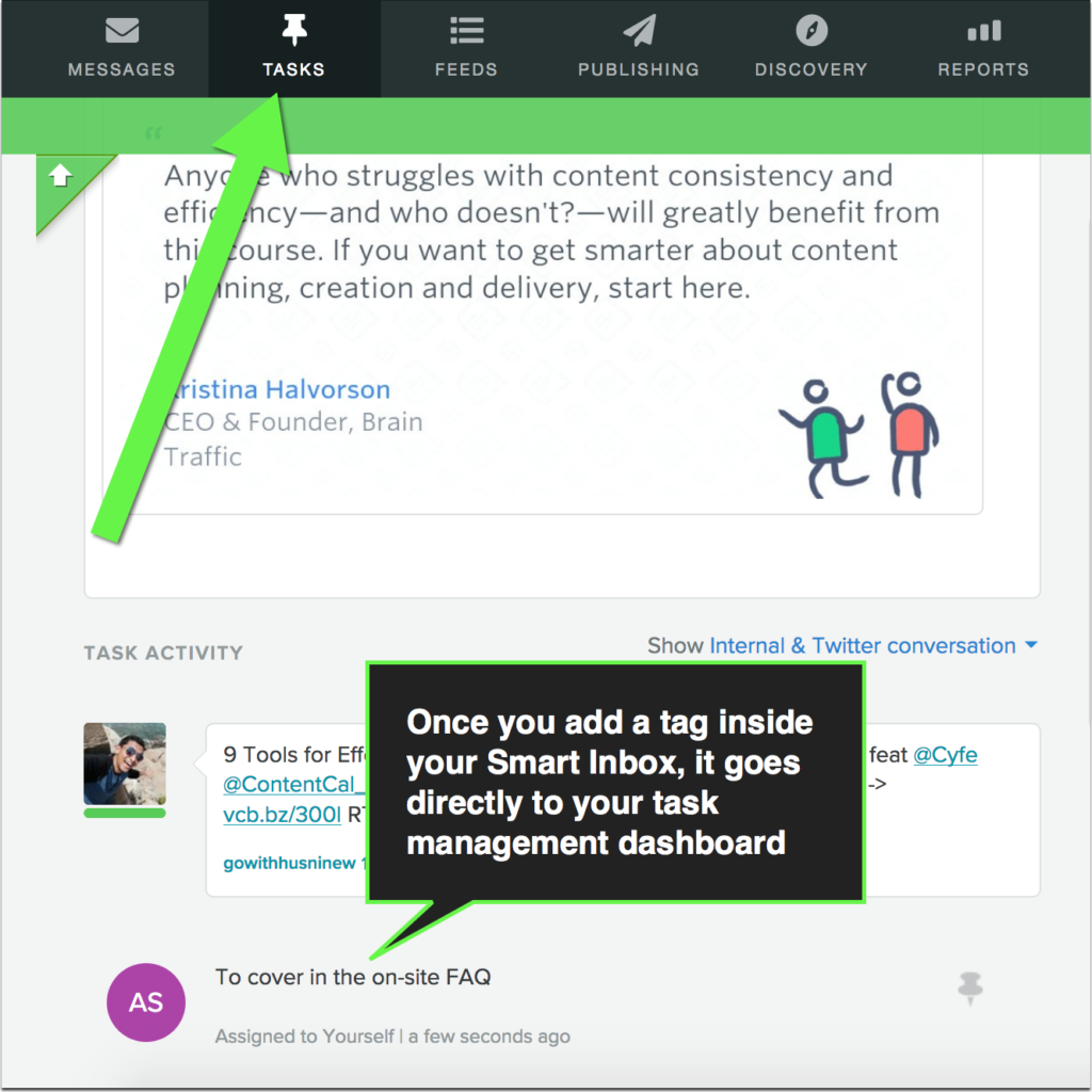 example of determining a task in the sprout smart mailbox using tags