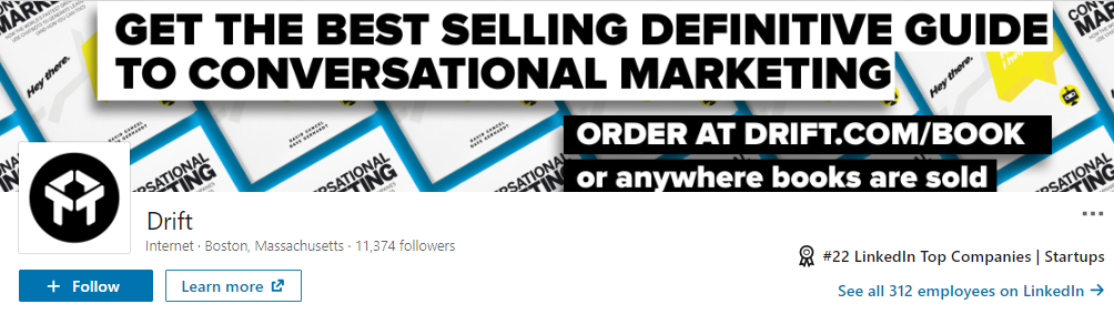 Drift's LinkedIn header promotes a new piece of content