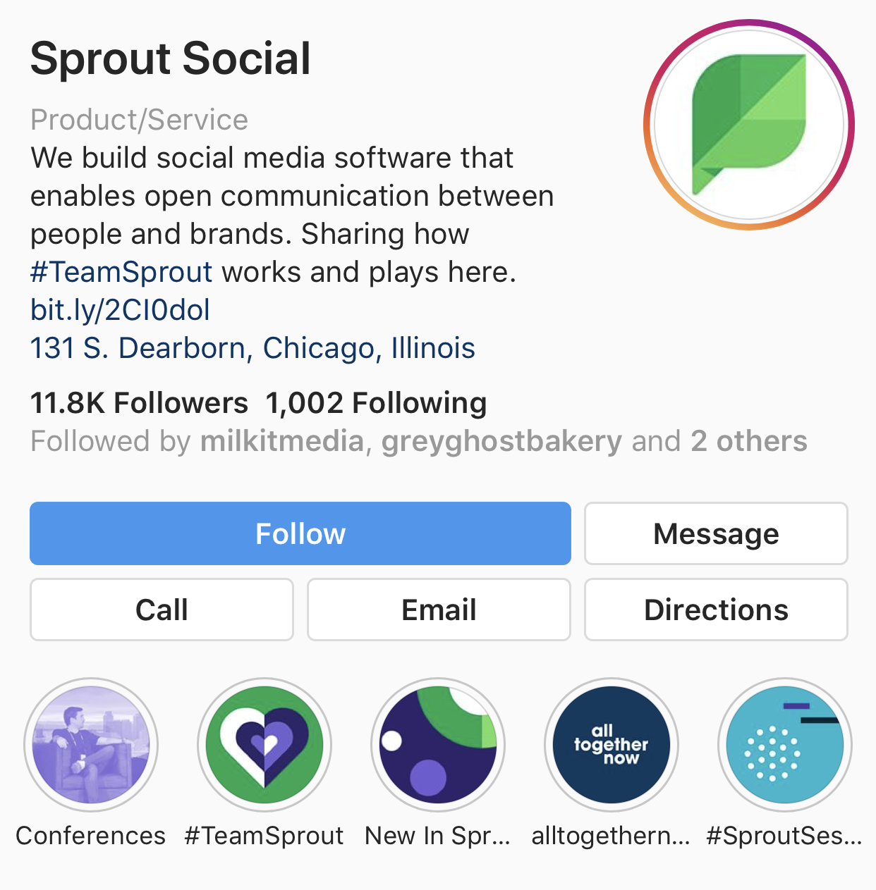 sprout instagram web page with story highlights