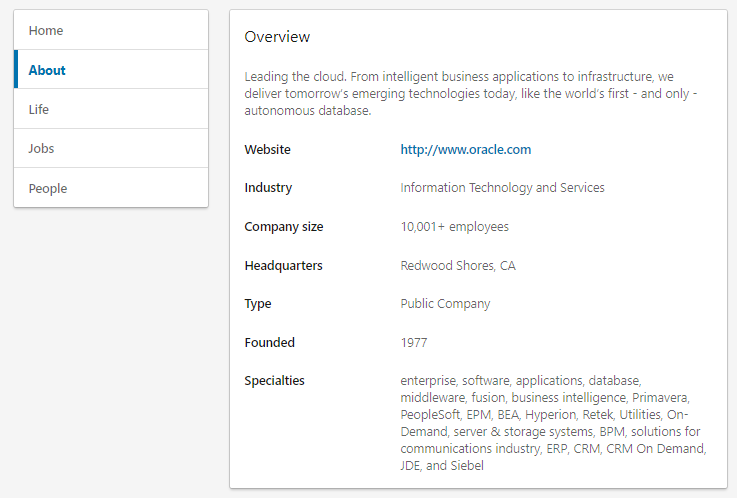 """Your LinkedIn """" About"""" section highlights your own company's mission statement as well as industry-specific keywords"""