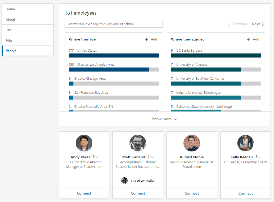 """LinkedIn's """" People"""" section highlights your employees within the platform"""