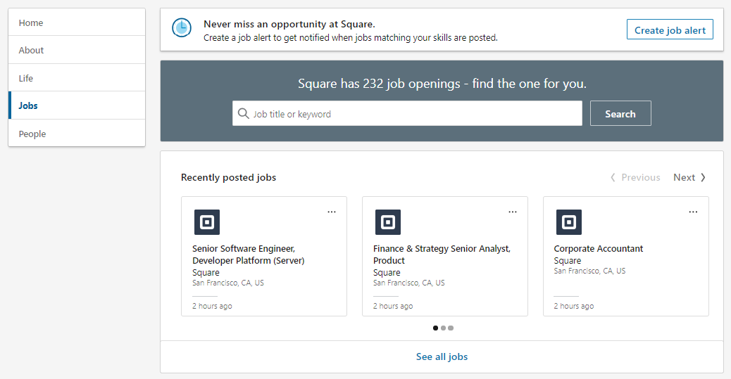 LinkedIn allows businesses to post work listings