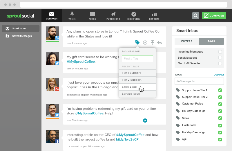 Sprout's smart mailbox allows you to tag specific social customers as sales leads