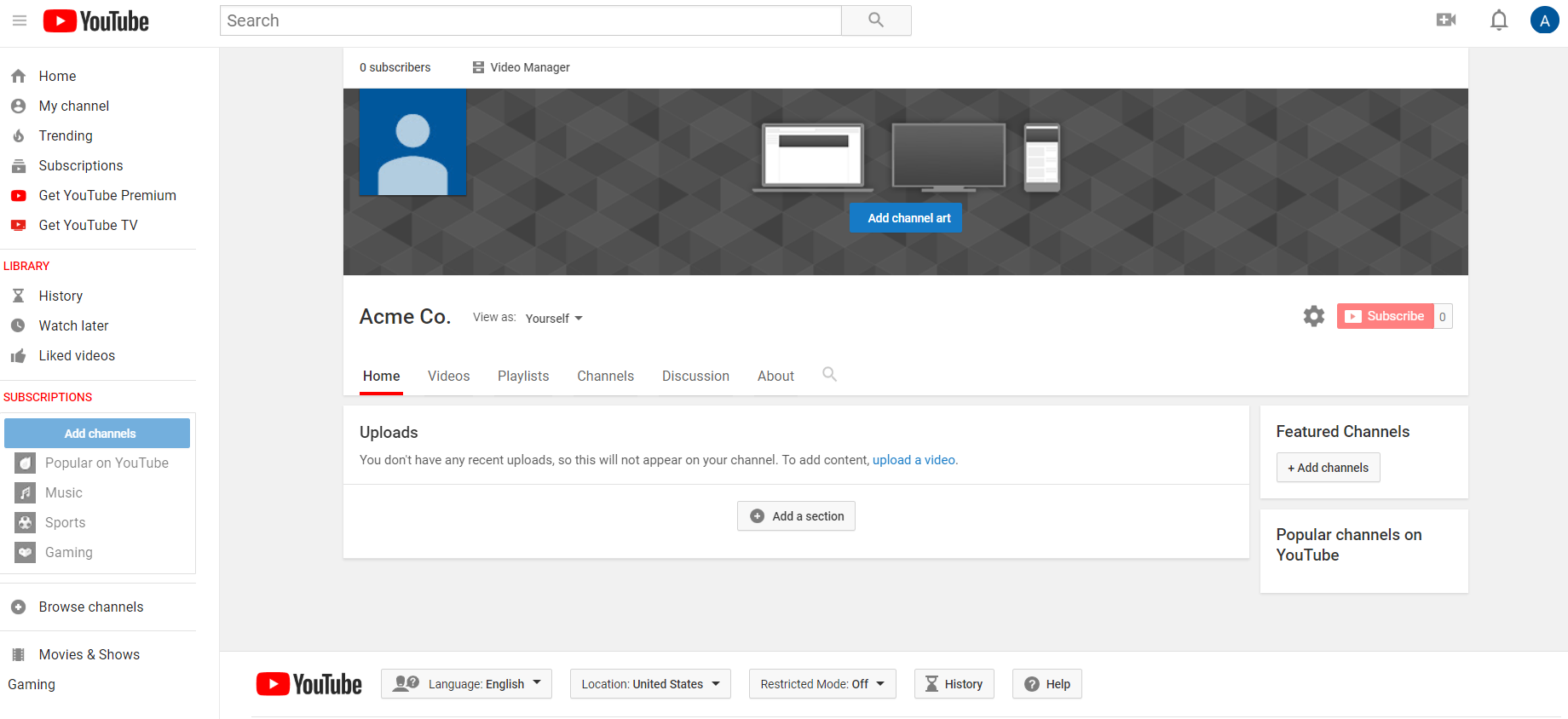 "YouTube's "" Customize Channel"" menu enables you to edit your channel ceatives"