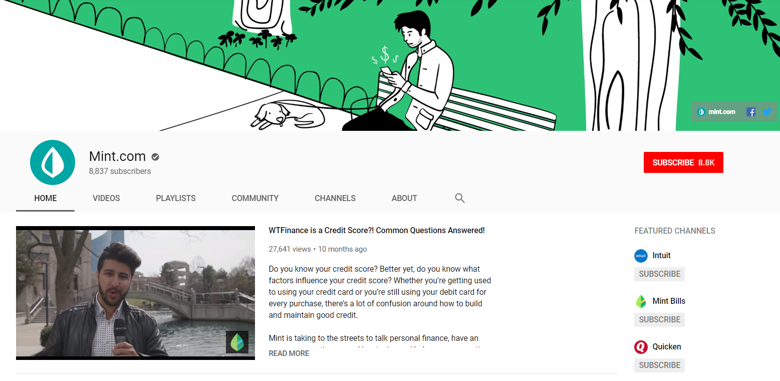 If you're looking for inspiration for how to make a YouTube account that's optimized, simply take a look at Mint's channel