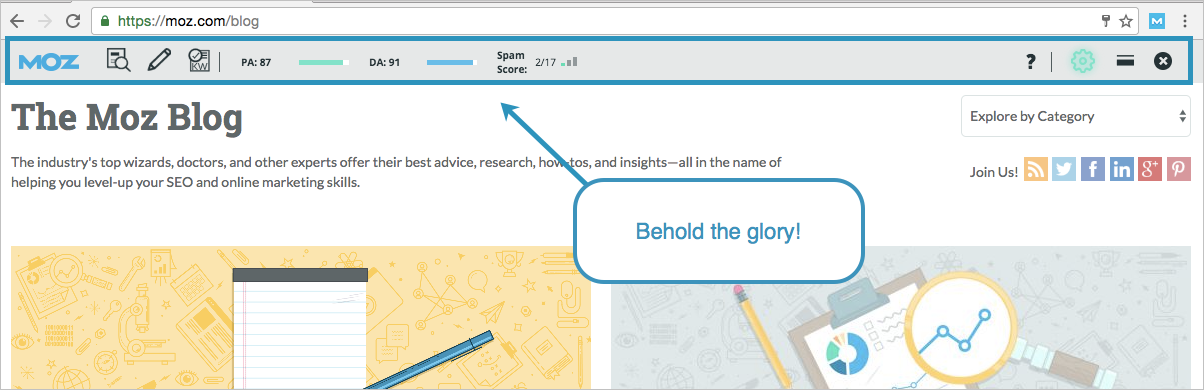 MozBar is a competitive analysis tool that looks at a site's Domain Authority