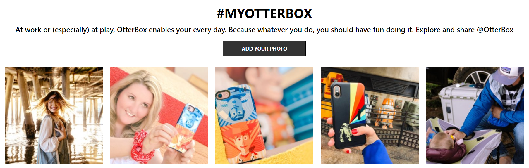 Otterbox features their Instagram photos on-site