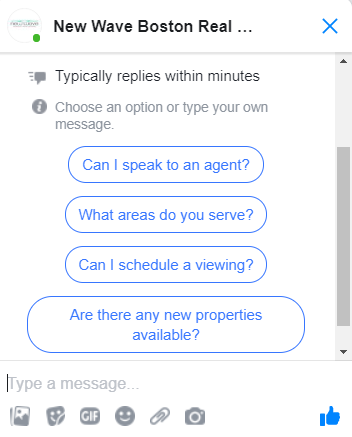 Facebook messenger offers a quick avenue to get in touch with real estate clients