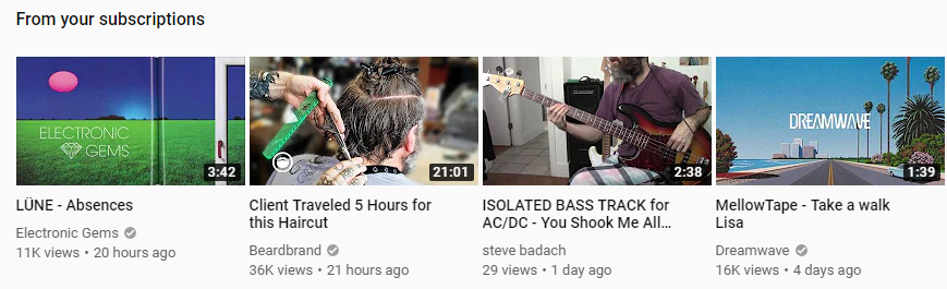 YouTube recommended feed