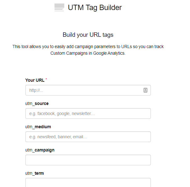 form fields on UTM tag builder