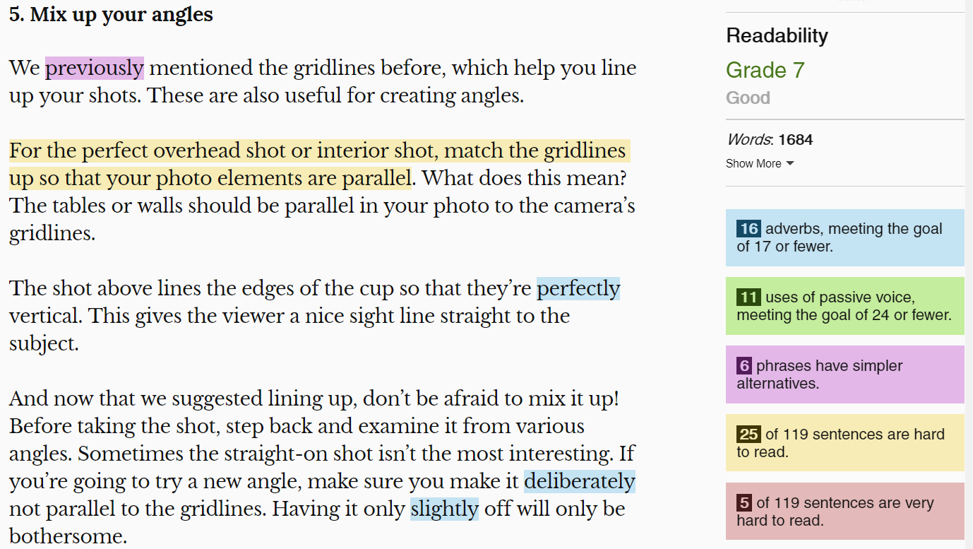 The Hemingway Editor can hep double-check that your blog posts are readable