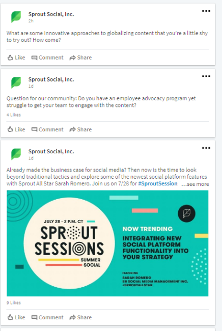sprout social linkedin posts