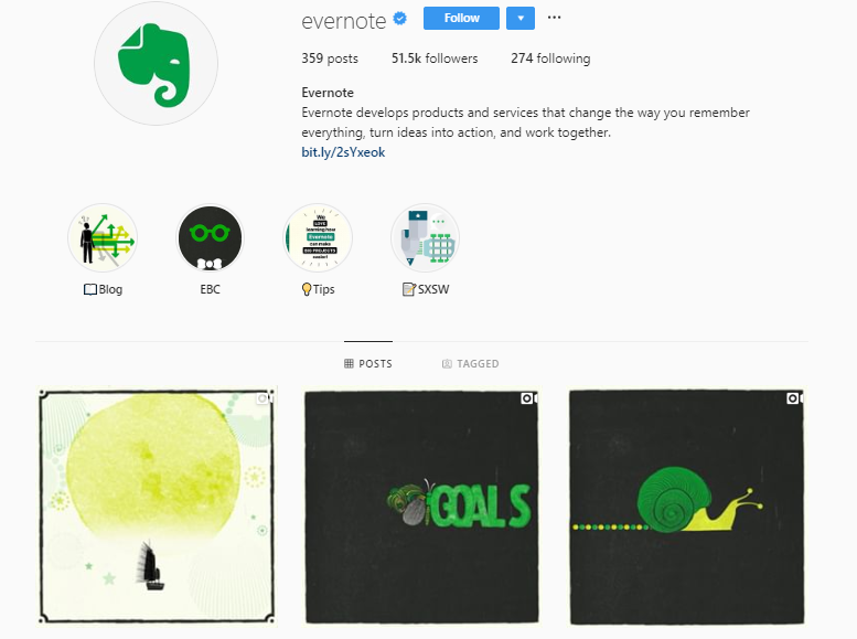 Evernote Instagram feed