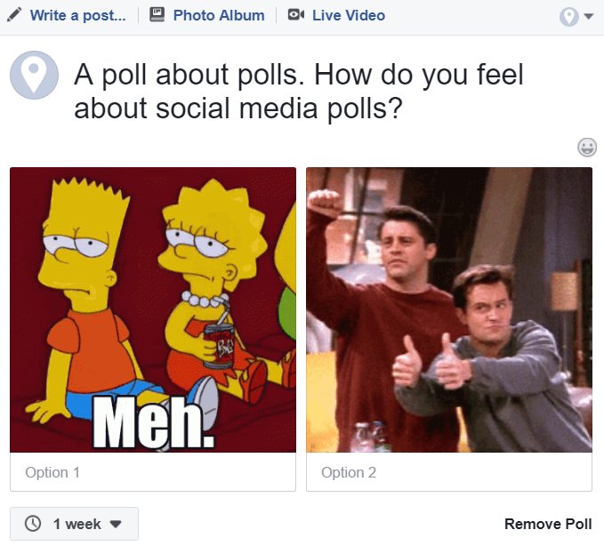 Example of Facebook Polls