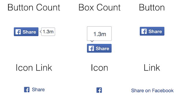 Selection of Facebook share buttons
