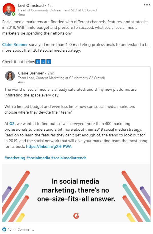 employee sharing content on LinkedIn