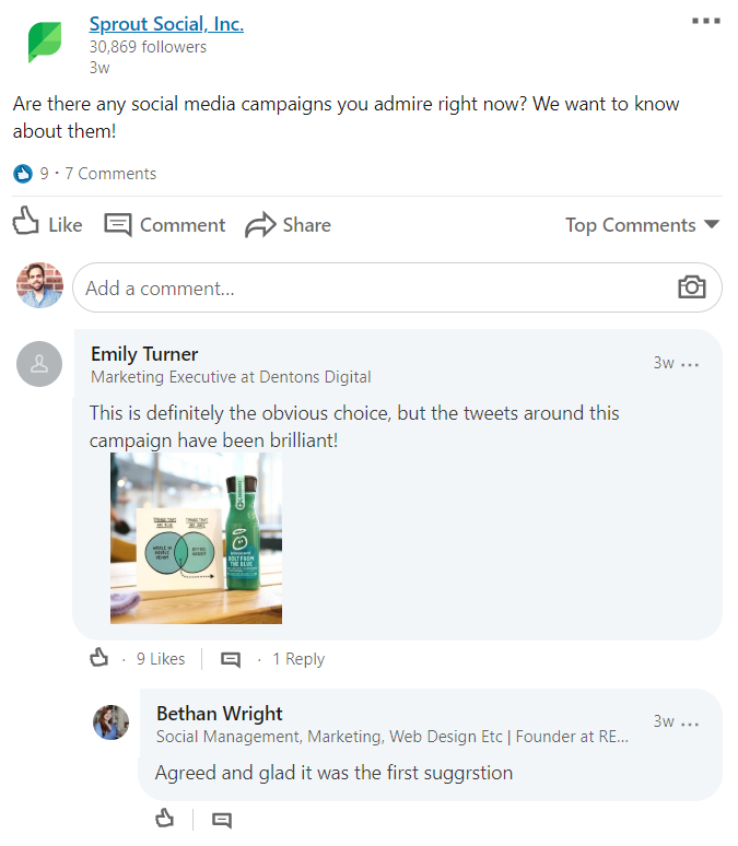 Sprout Social poses frequent community questions to encourage engagement