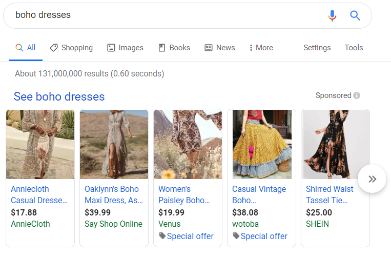 Google is a great place to start your market research process, particularly looking at sponsored results