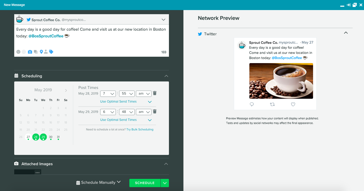 sprout compose window for posting new messages