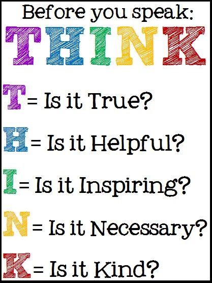 Poster Reading Before You Speak: Think: Is It True? Is It Helpful? Is It Inspiring? Is It Necessary? Is It Kind?