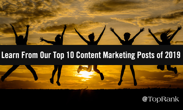 Top 10 Content Marketing Post of 2019 Jumping Group by Sunset Image
