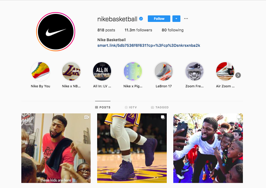 Screenshot of Nike Basketball's Instagram page