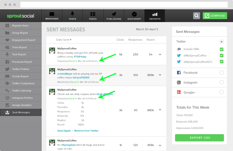 sprout social sent messages report