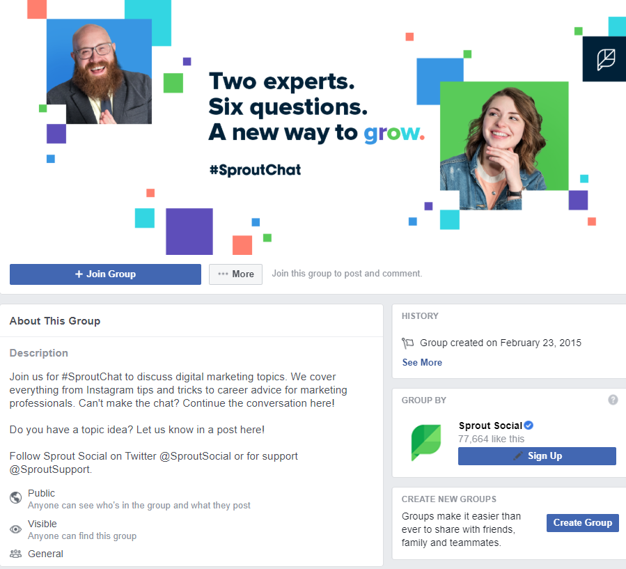 Sprout Social and Sproutchat Facebook Group