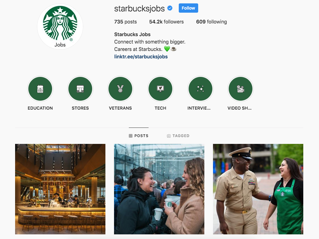 Starbucks Jobs Instagram account profile screenshot