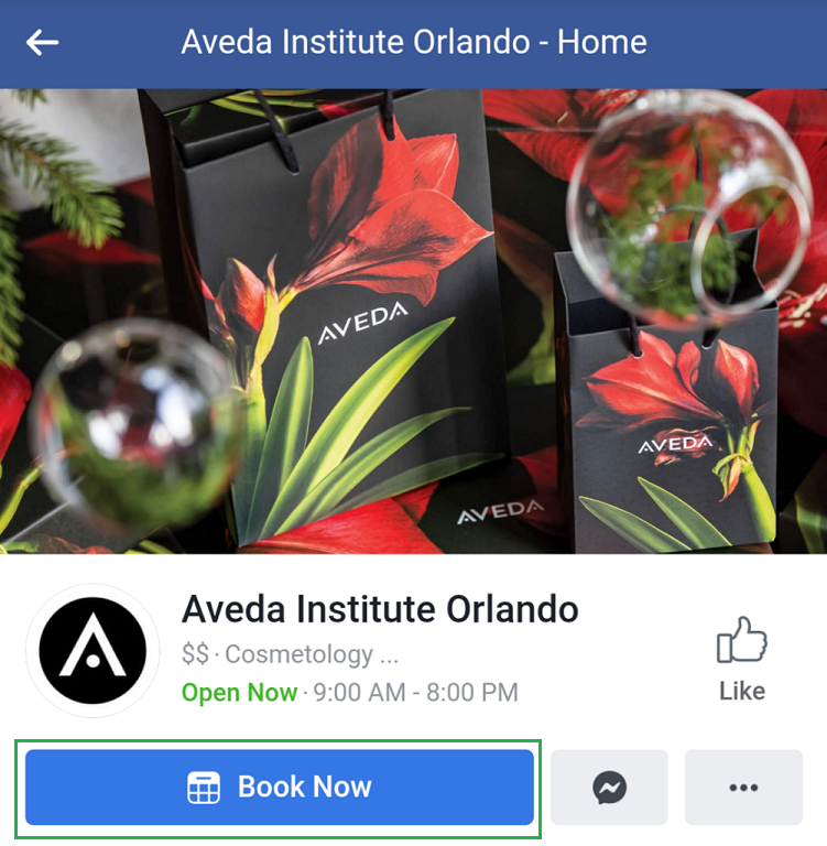 Facebook business page call-to-action on mobile