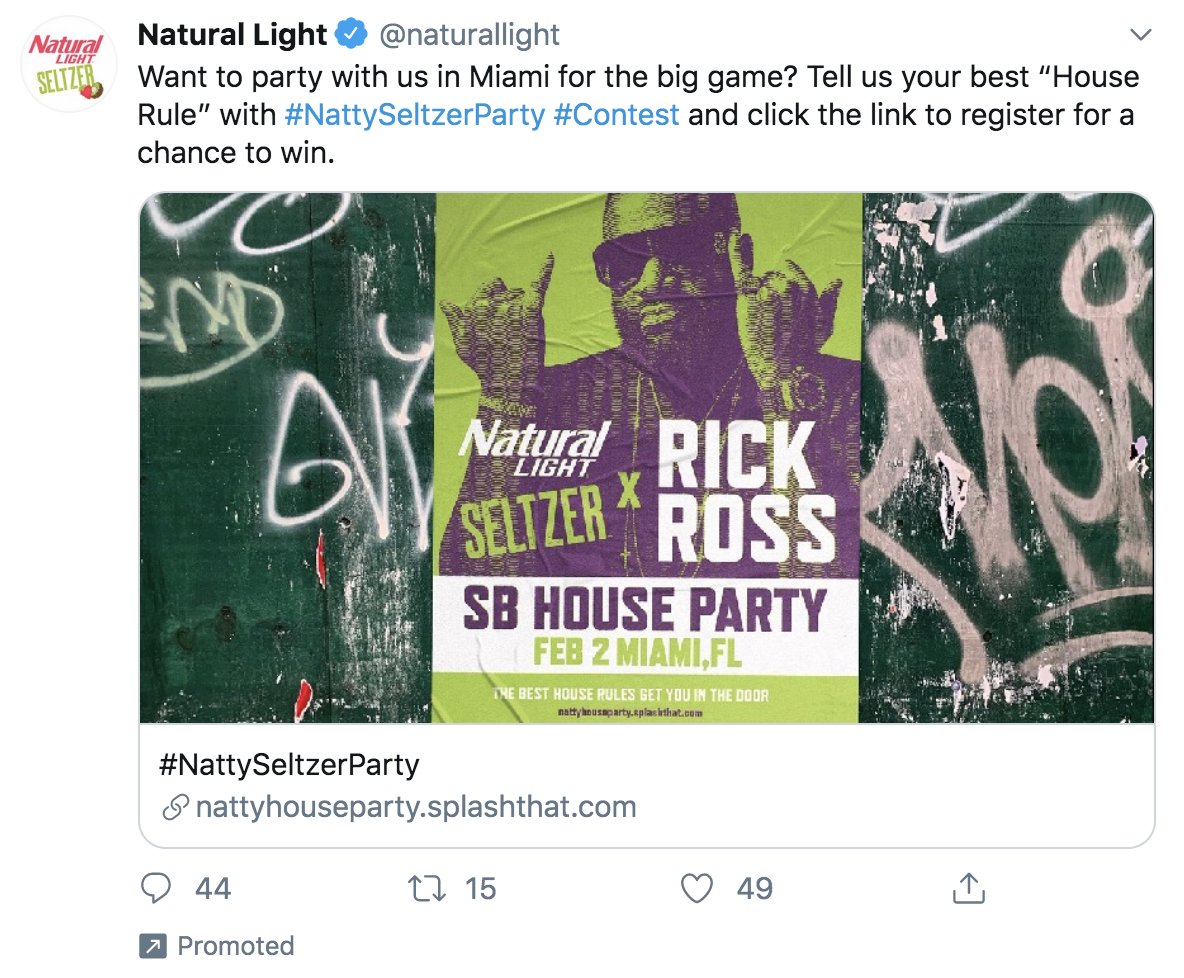 example of a promoted tweet that drives traffic to a signup page