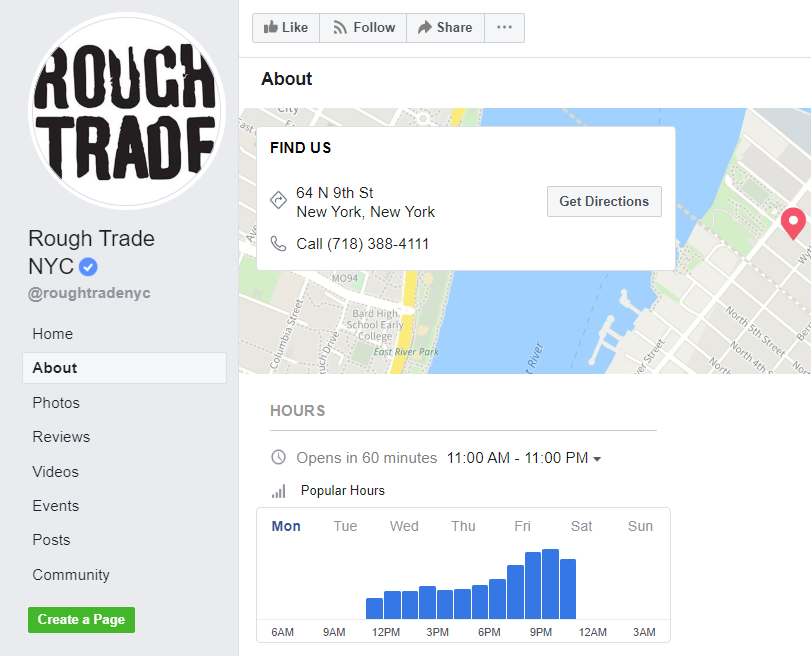 Facebook business page hours and location example