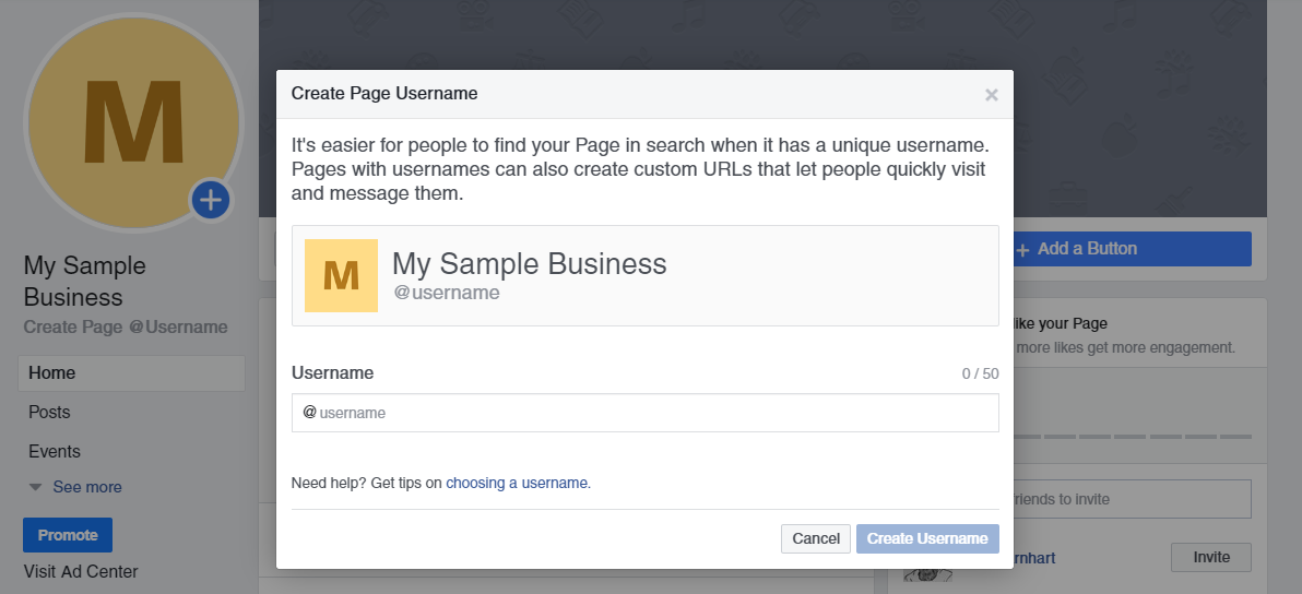 select username for facebook business page